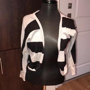 Forever 21 Black & Gray Striped Cardigan